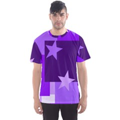Purple Stars Pattern Shape Men s Sports Mesh Tee