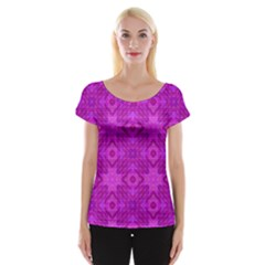 Magenta Mosaic Pattern Triangle Cap Sleeve Top