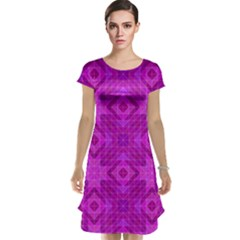 Magenta Mosaic Pattern Triangle Cap Sleeve Nightdress