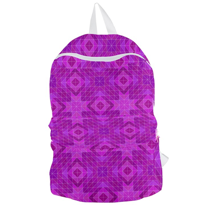 Magenta Mosaic Pattern Triangle Foldable Lightweight Backpack