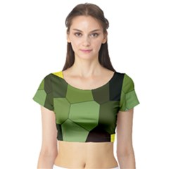 Mosaic Structure Background Tile Short Sleeve Crop Top