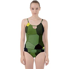 Mosaic Structure Background Tile Cut Out Top Tankini Set