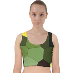 Mosaic Structure Background Tile Velvet Racer Back Crop Top
