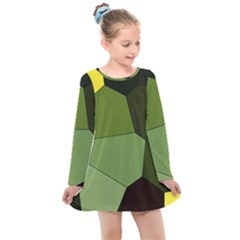 Mosaic Structure Background Tile Kids  Long Sleeve Dress