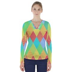Low Poly Triangles V Neck Long Sleeve Top