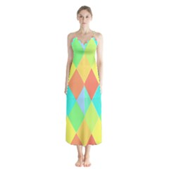Low Poly Triangles Button Up Chiffon Maxi Dress by Pakrebo