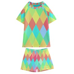 Low Poly Triangles Kids  Swim Tee And Shorts Set