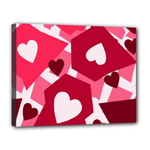 Pink Hearts Pattern Love Shape Canvas 14  X 11  (stretched)