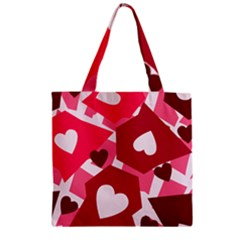 Pink Hearts Pattern Love Shape Zipper Grocery Tote Bag