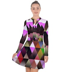 Abstract Geometric Triangles Shapes Long Sleeve Panel Dress