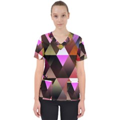 Abstract Geometric Triangles Shapes Women s V Neck Scrub Top