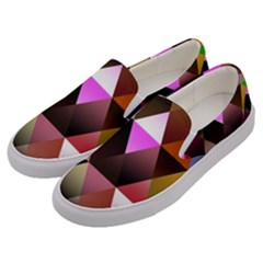 Abstract Geometric Triangles Shapes Men s Canvas Slip Ons by Pakrebo