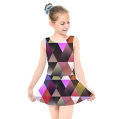 Abstract Geometric Triangles Shapes Kids  Skater Dress Swimsuit