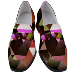 Abstract Geometric Triangles Shapes Women s Chunky Heel Loafers by Pakrebo