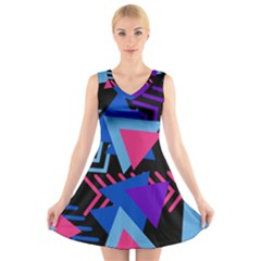 Memphis Pattern Geometric Abstract V Neck Sleeveless Dress