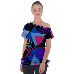 Memphis Pattern Geometric Abstract Tie Up Tee by Pakrebo