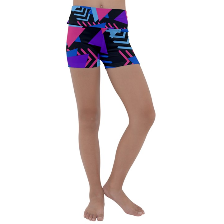 Memphis Pattern Geometric Abstract Kids  Lightweight Velour Yoga Shorts