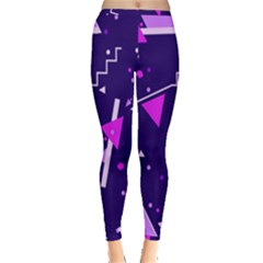 Purple Blue Geometric Pattern Inside Out Leggings