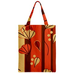 Amber Yellow Stripes Leaves Floral Zipper Classic Tote Bag