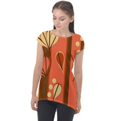 Amber Yellow Stripes Leaves Floral Cap Sleeve High Low Top by Pakrebo