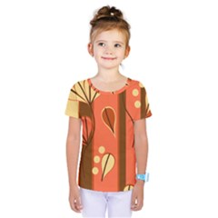 Amber Yellow Stripes Leaves Floral Kids  One Piece Tee