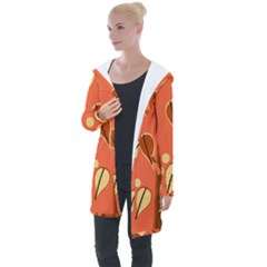 Amber Yellow Stripes Leaves Floral Longline Hooded Cardigan