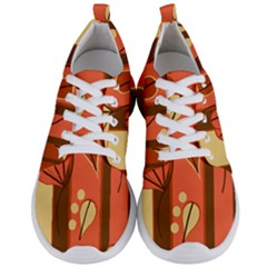 Amber Yellow Stripes Leaves Floral Men s Lightweight Sports Shoes