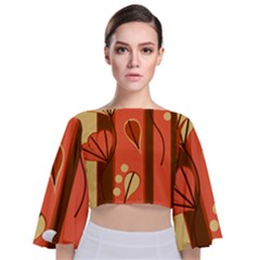 Amber Yellow Stripes Leaves Floral Tie Back Butterfly Sleeve Chiffon Top