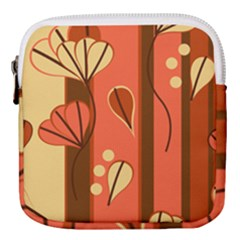 Amber Yellow Stripes Leaves Floral Mini Square Pouch