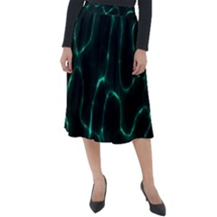 Green Pattern Background Abstract Classic Velour Midi Skirt