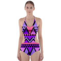 Seamless Purple Pink Pattern Cut-Out One Piece Swimsuit