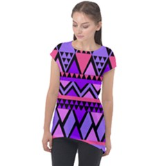Seamless Purple Pink Pattern Cap Sleeve High Low Top