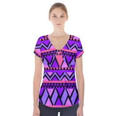 Seamless Purple Pink Pattern Short Sleeve Front Detail Top