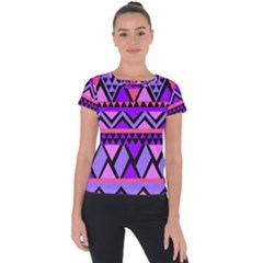 Seamless Purple Pink Pattern Short Sleeve Sports Top