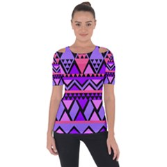 Seamless Purple Pink Pattern Shoulder Cut Out Short Sleeve Top