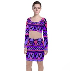 Seamless Purple Pink Pattern Top and Skirt Sets