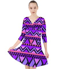Seamless Purple Pink Pattern Quarter Sleeve Front Wrap Dress