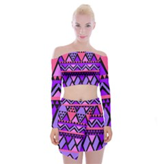 Seamless Purple Pink Pattern Off Shoulder Top with Mini Skirt Set