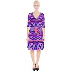 Seamless Purple Pink Pattern Wrap Up Cocktail Dress