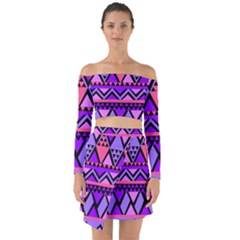 Seamless Purple Pink Pattern Off Shoulder Top with Skirt Set