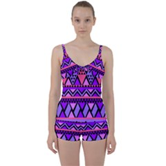 Seamless Purple Pink Pattern Tie Front Two Piece Tankini