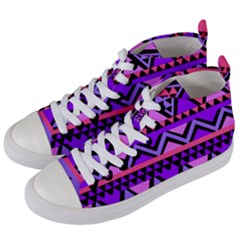 Seamless Purple Pink Pattern Women s Mid-Top Canvas Sneakers