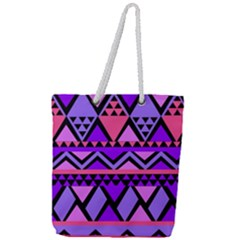 Seamless Purple Pink Pattern Full Print Rope Handle Tote (Large)