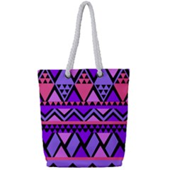 Seamless Purple Pink Pattern Full Print Rope Handle Tote (Small)