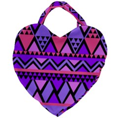 Seamless Purple Pink Pattern Giant Heart Shaped Tote