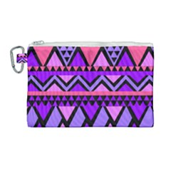 Seamless Purple Pink Pattern Canvas Cosmetic Bag (Large)