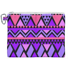 Seamless Purple Pink Pattern Canvas Cosmetic Bag (XXL)