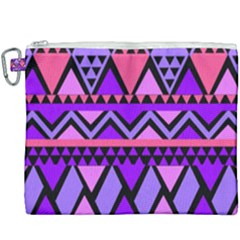 Seamless Purple Pink Pattern Canvas Cosmetic Bag (XXXL)
