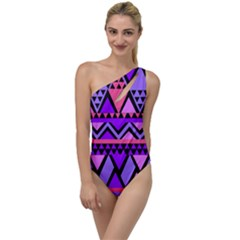 Seamless Purple Pink Pattern To One Side Swimsuit