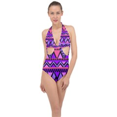 Seamless Purple Pink Pattern Halter Front Plunge Swimsuit